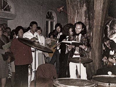 Boerries-Peter Kopton reading from his book at Kristek's Night Vernissage in 1975