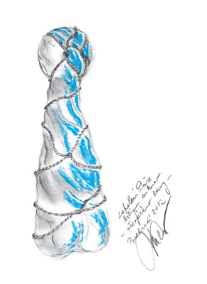 Kristek's sketch of sculpture covered with sheet.